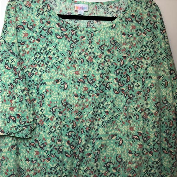LuLaRoe Tops - Lularoe Irma 2XL Mint Green with Purple & Pink